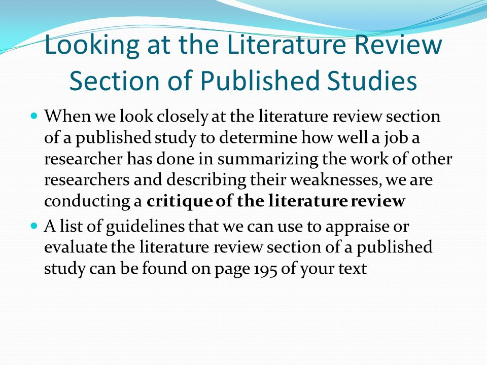 a literature review and critique on