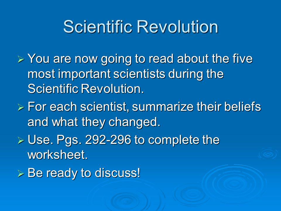 ... scientific revolution worksheet · scientific revolution ...