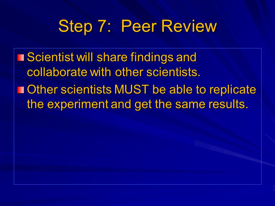 Step 7: Peer Review Scientist will share findings and collaborate with other scientists.