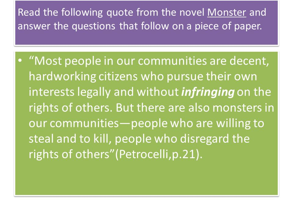 monster myers essay questions