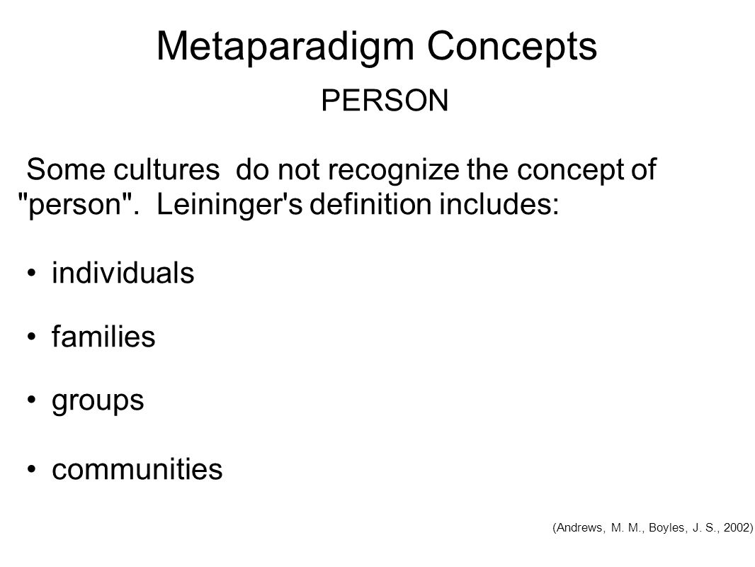 metaparadigm in nursing person It includes conditions that can positively or negatively affect a person's ability to  provide self-care she enumerated certain conditions which are.