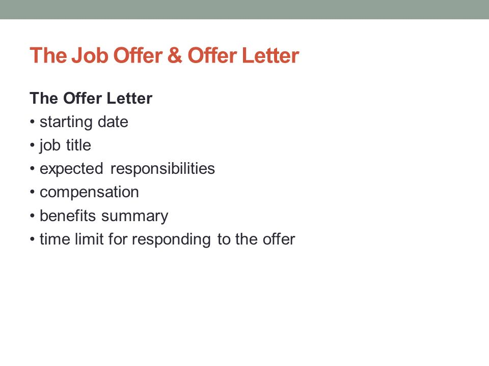 responding to job offer