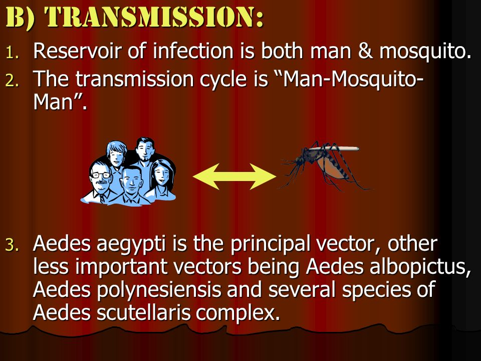 B) Transmission: Reservoir of infection is both man & mosquito.