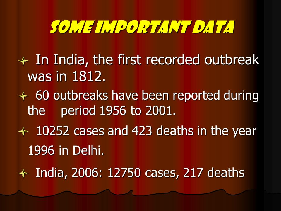 Some important data l In India, the first recorded outbreak was in l 60 outbreaks have been reported during the period 1956 to