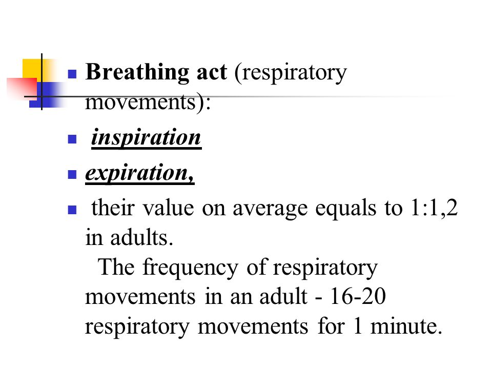Breathing act (respiratory movements):