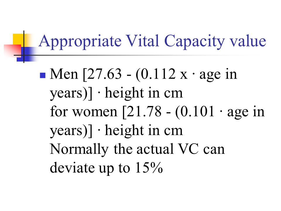 Appropriate Vital Capacity value