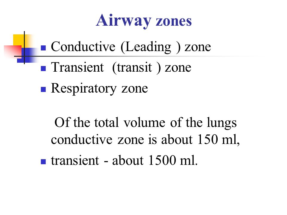 Airway zones Conductive (Leading ) zone Transient (transit ) zone