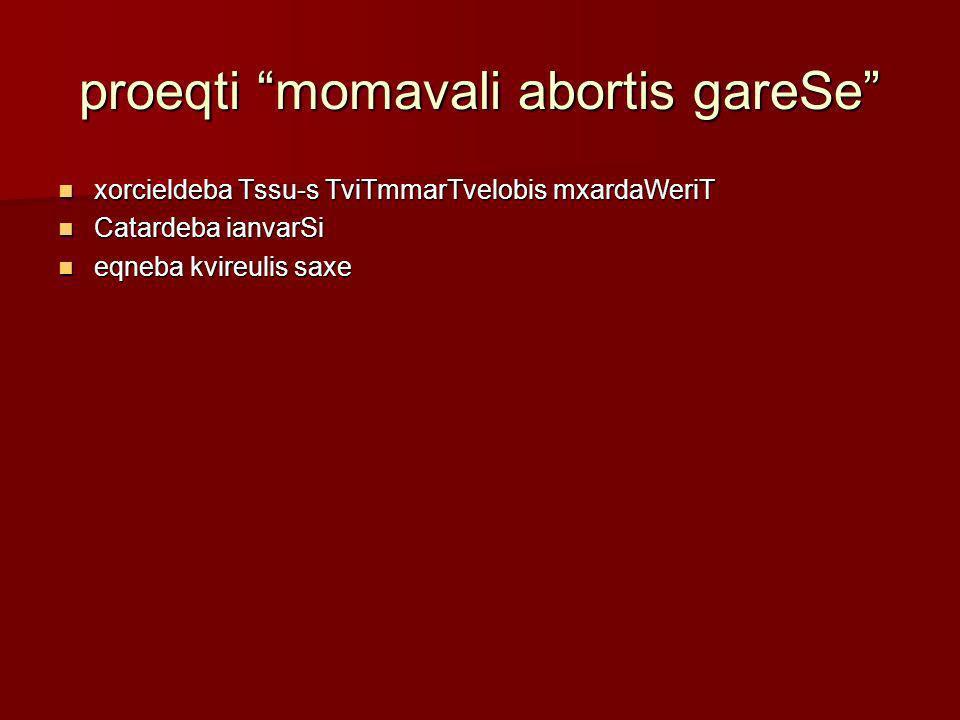 proeqti momavali abortis gareSe
