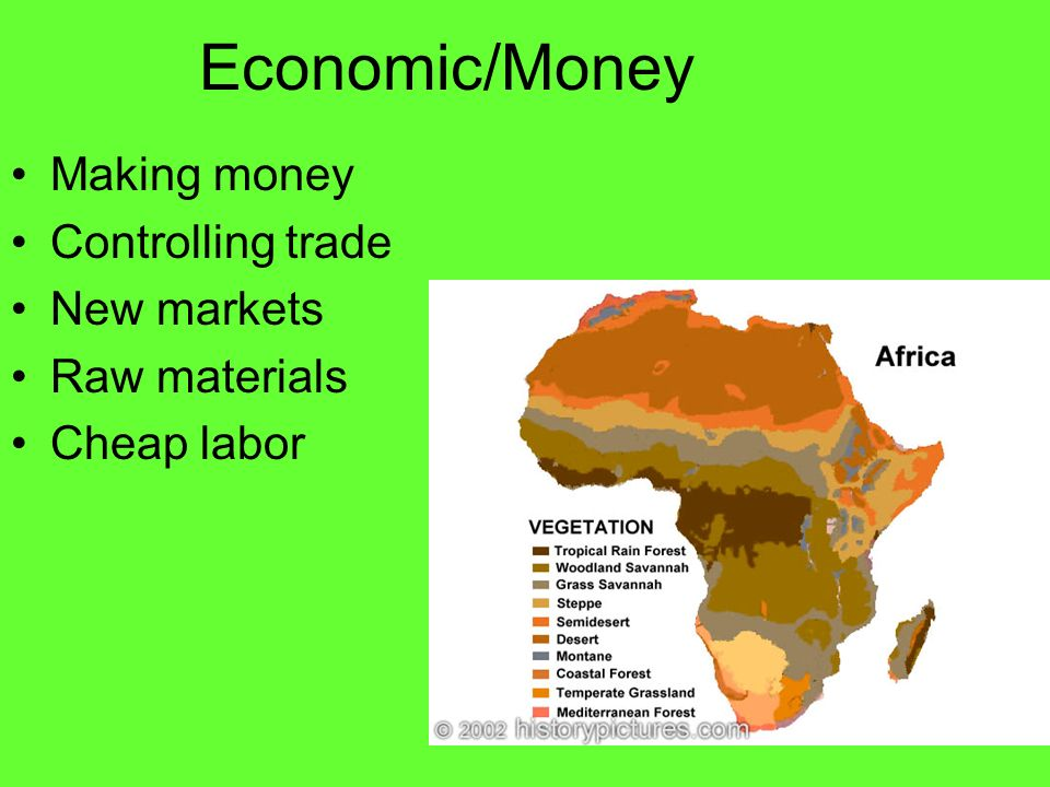 Economic/Money Making money Controlling trade New markets