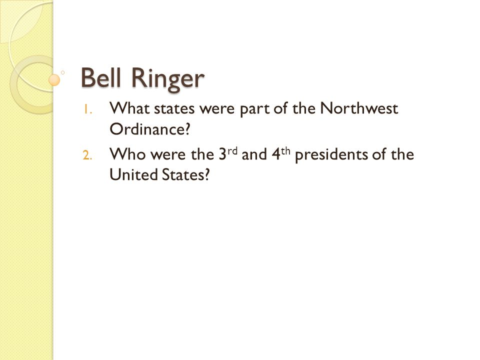 Bell Ringer What states were part of the Northwest Ordinance