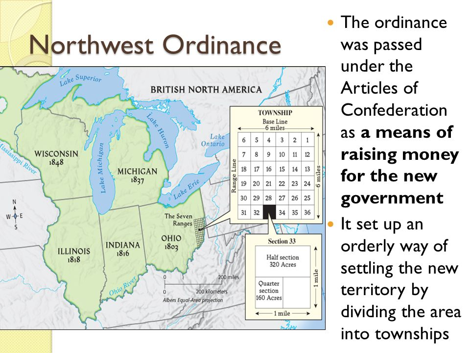 The ordinance was passed under the Articles of Confederation as a means of raising money for the new government