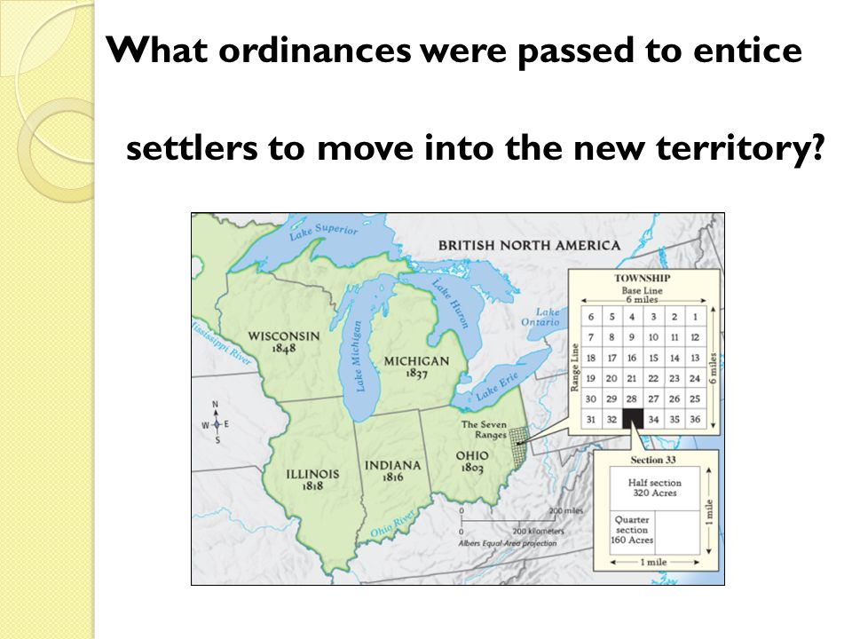 What ordinances were passed to entice settlers to move into the new territory