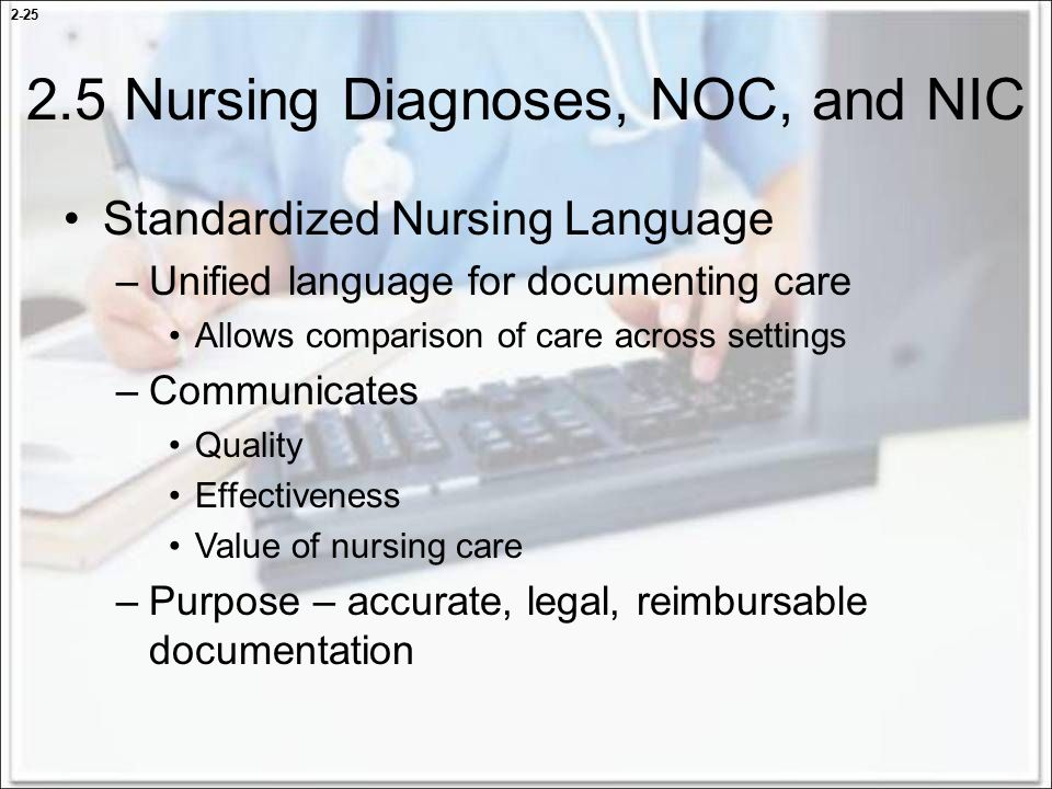application of nursing interventions classification nic The nursing interventions classification (nic) is a comprehensive, standardized   the use of nic to plan and document care will facilitate the collection of large.