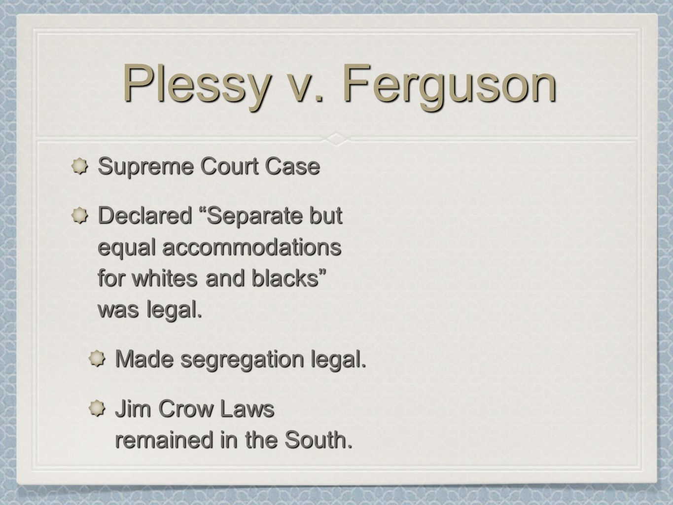 an analysis of the plessy v ferguson supreme court case Plessy v ferguson august 13, 2013 | ryan 3 minutes facts plaintiff, is a 'black'   in which, p was asking for a higher court, to strike down upon the ruling of a  lower court   even though, supreme court states that these laws are not un- equal,.