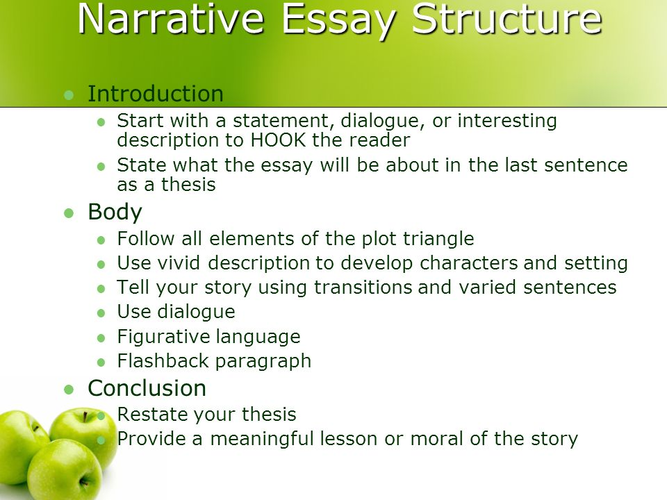 essays on narrative structure In narrative writing, the thesis takes on a slightly different role as many narrative essays focus on personal experience, the thesis then becomes the lesson of that experience it answers the question of why the experience is important in the first place.