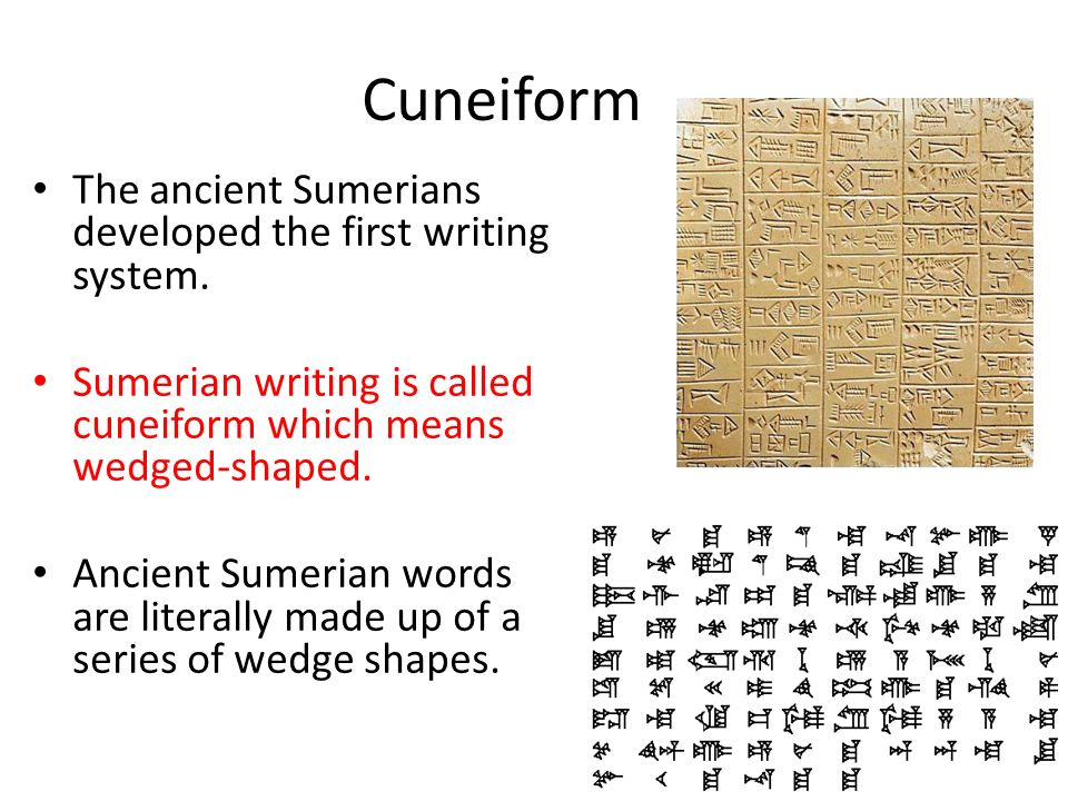 The Characteristics Of Cuneiform Writing In Ancient Sumer College
