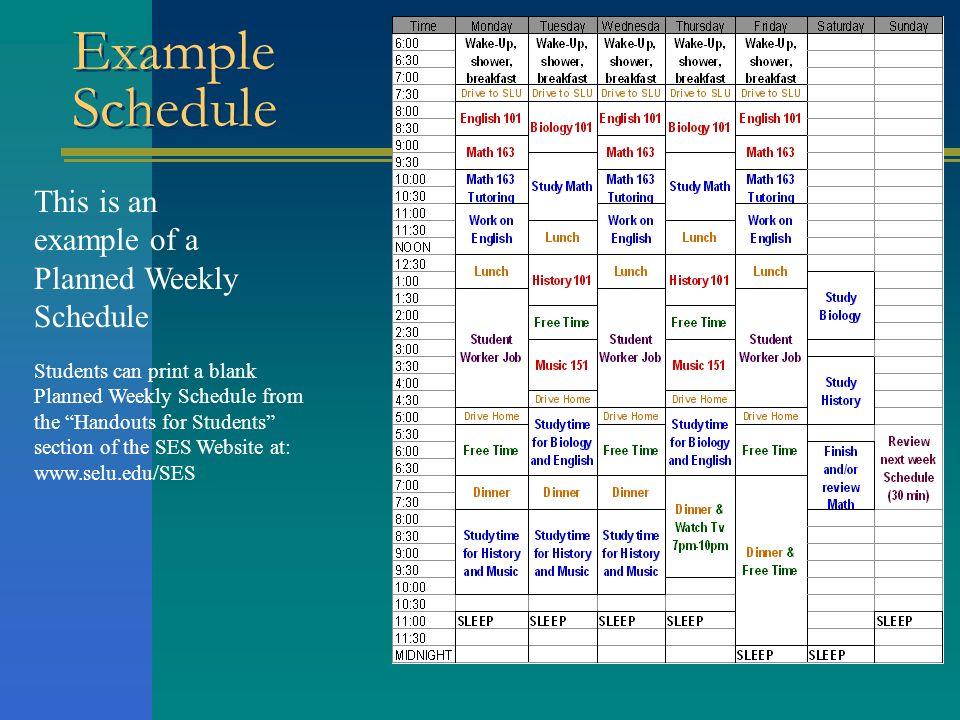 college schedule example