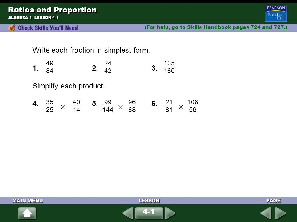 Ratios and Proportion Write each fraction in simplest form. - ppt ...