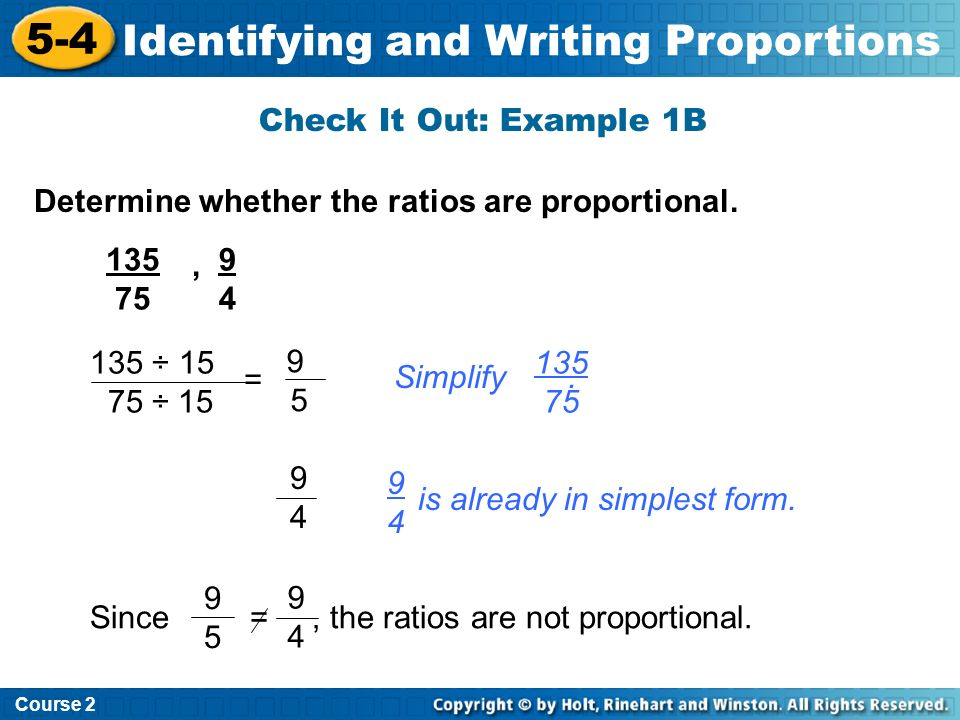 5-5 Solving Proportions Warm Up Problem of the Day Lesson ...