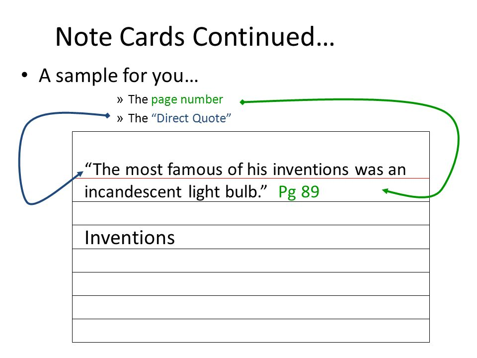 format of source cards for research paper In the previous example, the source was given a number, instead of writing out the entire title you could write out the title on each card, or simply list your sources on a separate sheet of paper, like the example here number your sources on this list, and then use the numbers on the note cards to specify which source.