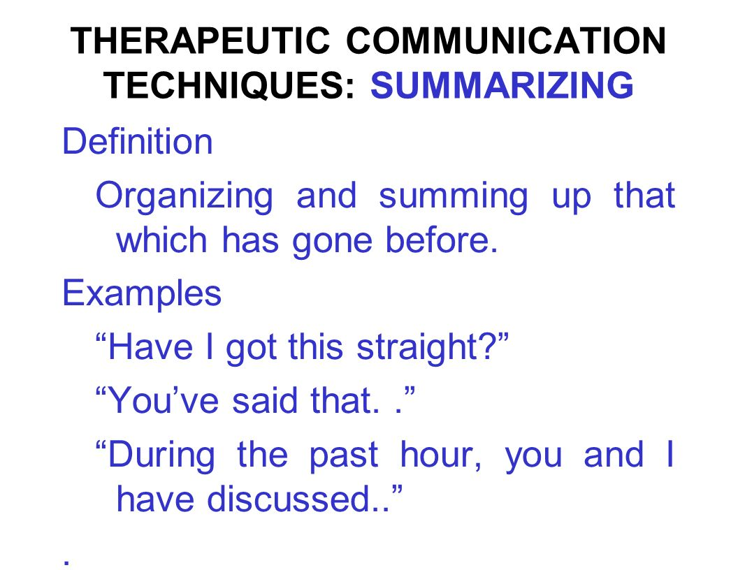 therapeutic communications Therapeutic communication has 129 ratings and 7 reviews aj said: it's slow  reading because there's so much to absorb, but i've learned a lot thus far.