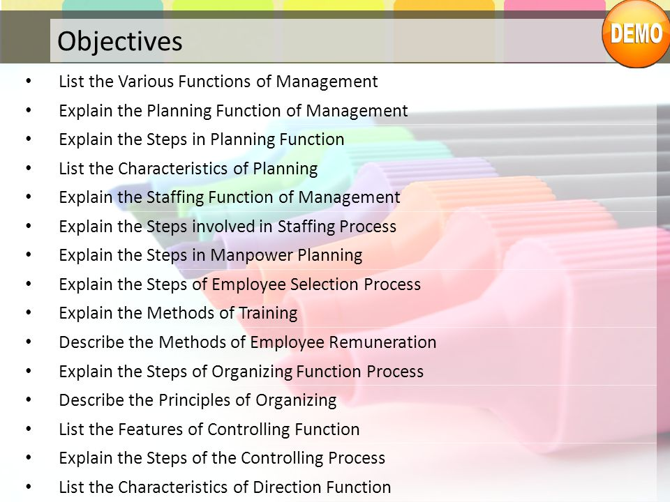 Objectives List the Various Functions of Management