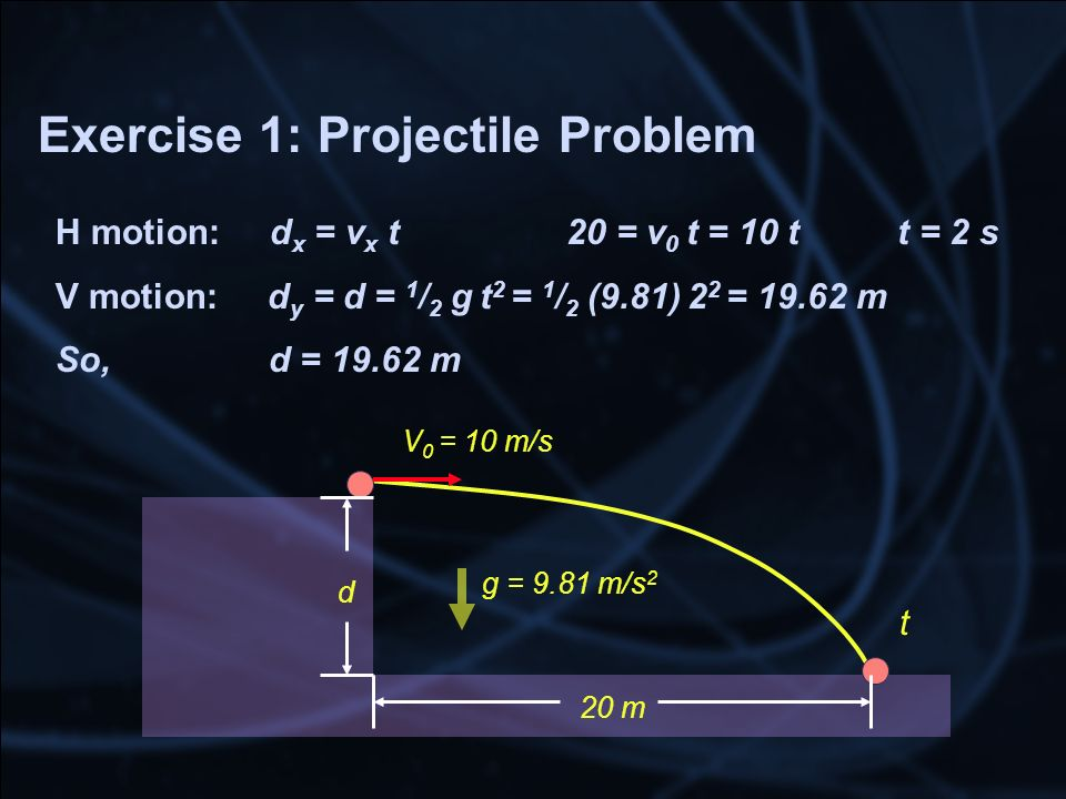 Exercise 1: Projectile Problem