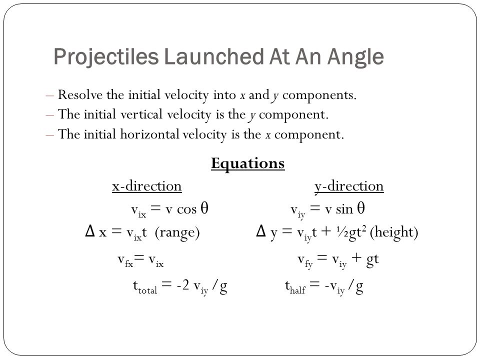 Projectiles Launched At An Angle