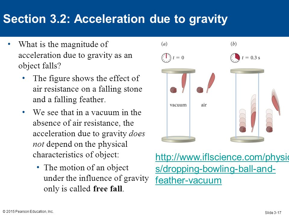 relationship of speed and acceleration due to gravity