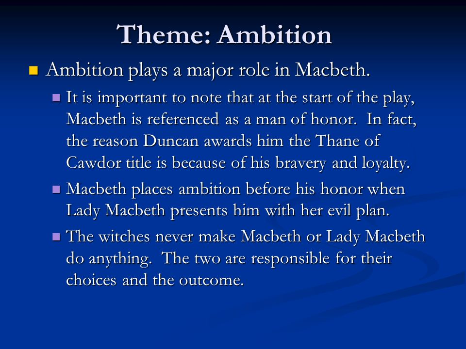 themes in macbeth Explore macbeth includes a literary overview, suggestions for teaching the play, extended learning activities, and bibliographies.