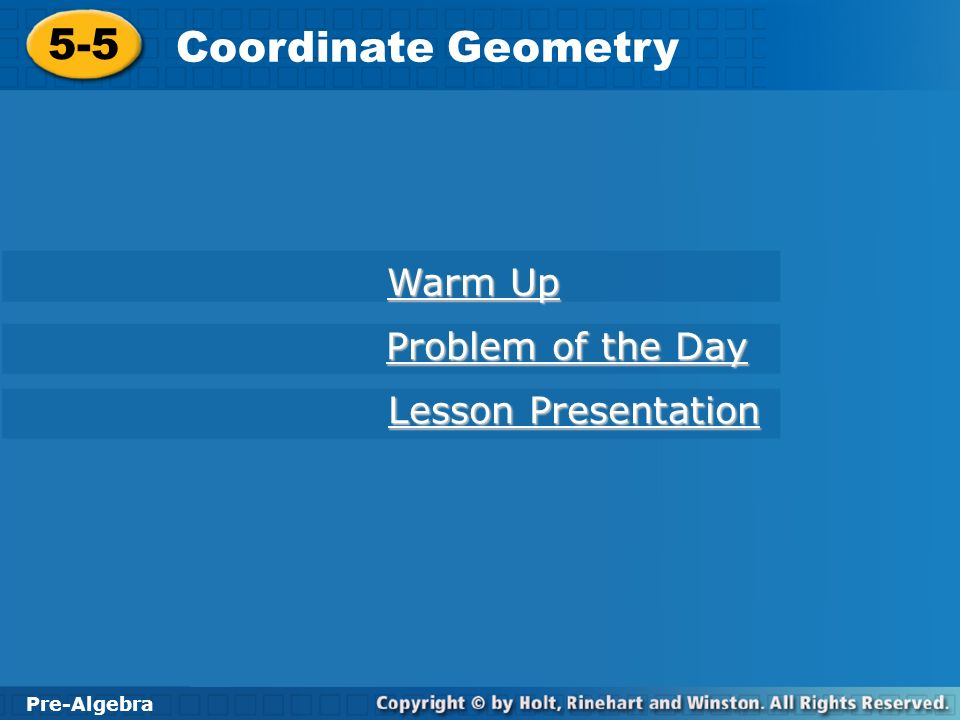 5-5 Coordinate Geometry Warm Up Problem of the Day Lesson ...