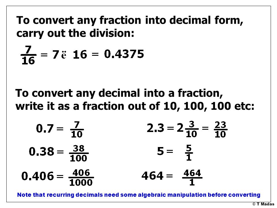 Fraction Operations A Formal Summary © T Madas. - ppt download