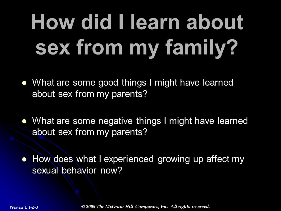 How did I learn about sex from my family