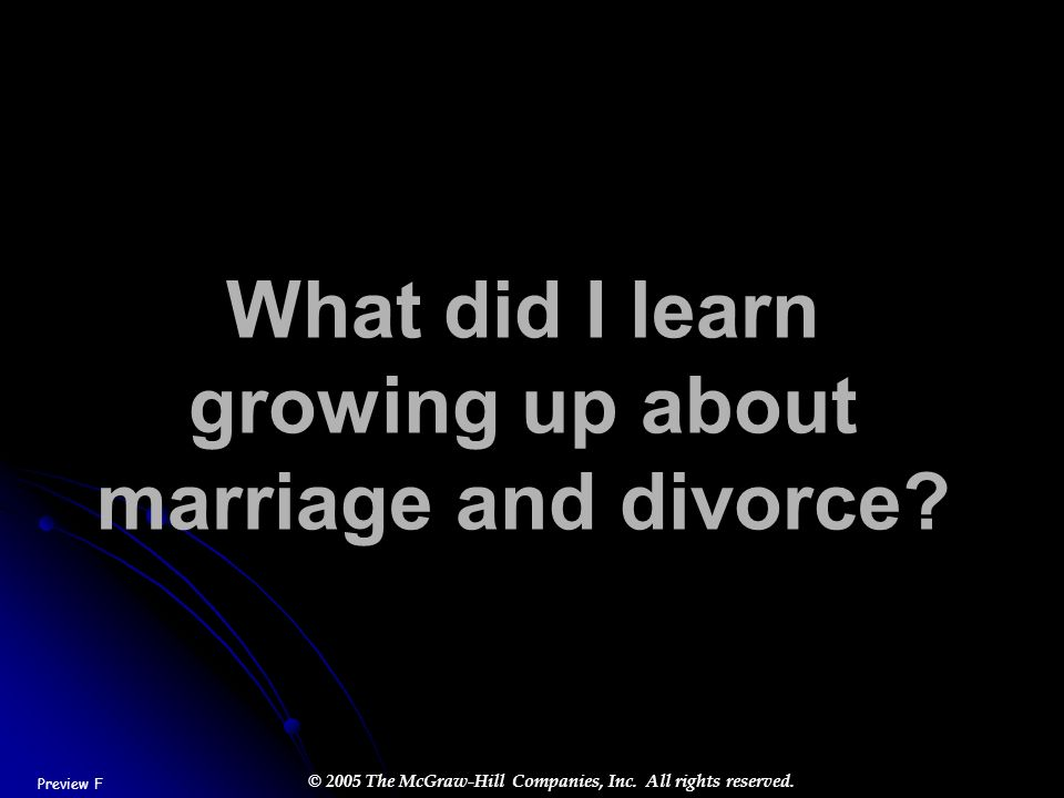What did I learn growing up about marriage and divorce