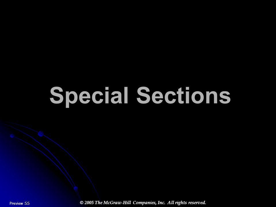 Special Sections Preview SS