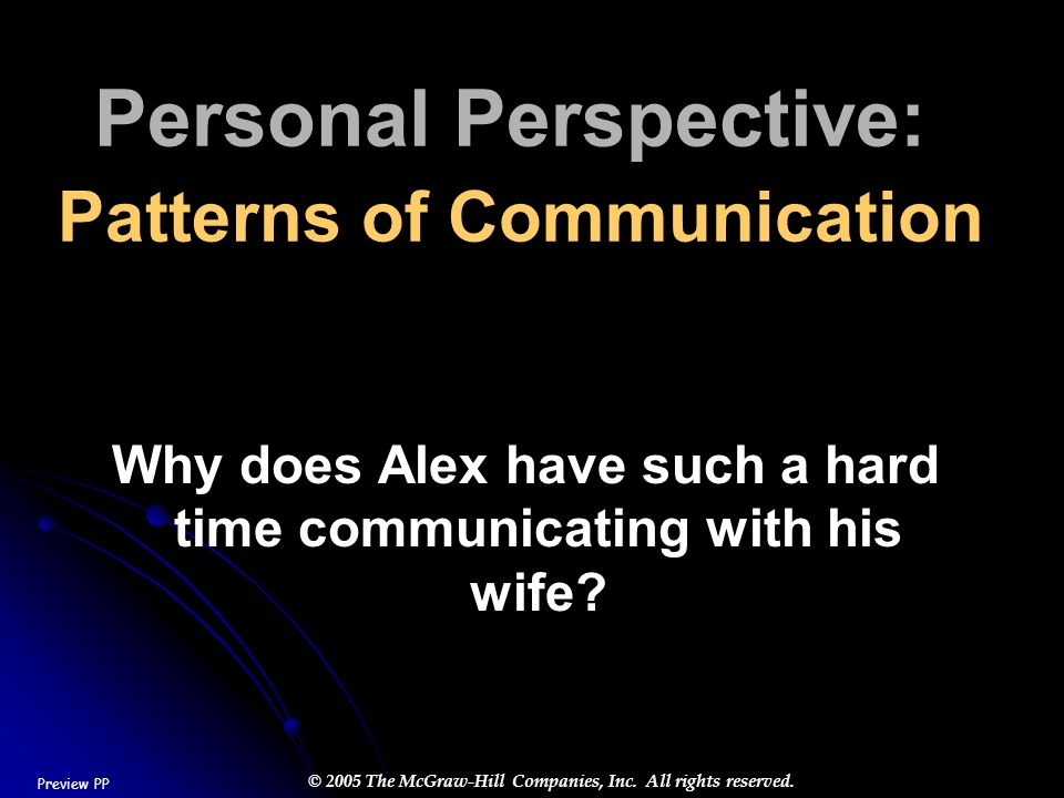 Personal Perspective: Patterns of Communication