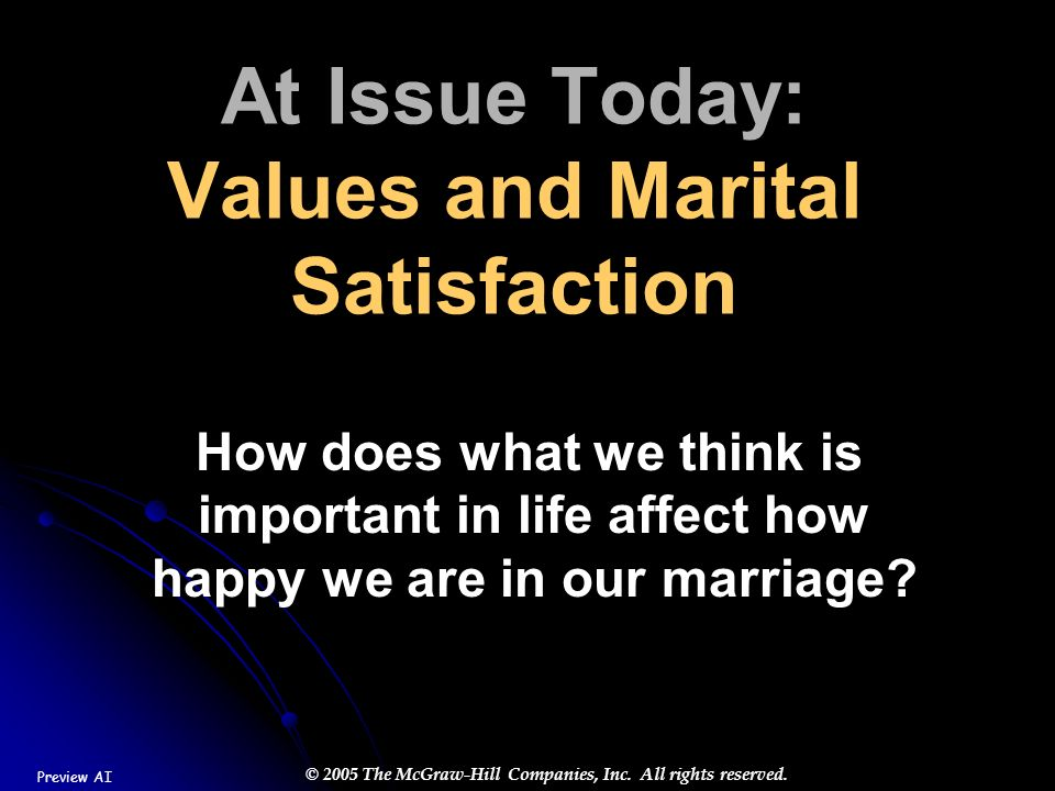 At Issue Today: Values and Marital Satisfaction