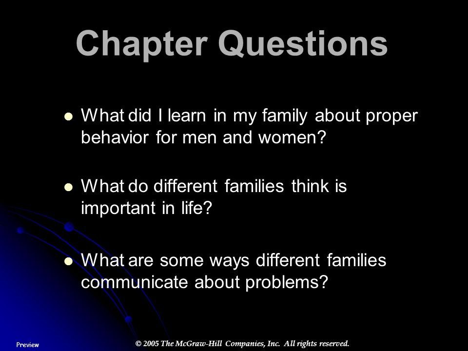 Chapter Questions What did I learn in my family about proper behavior for men and women What do different families think is important in life