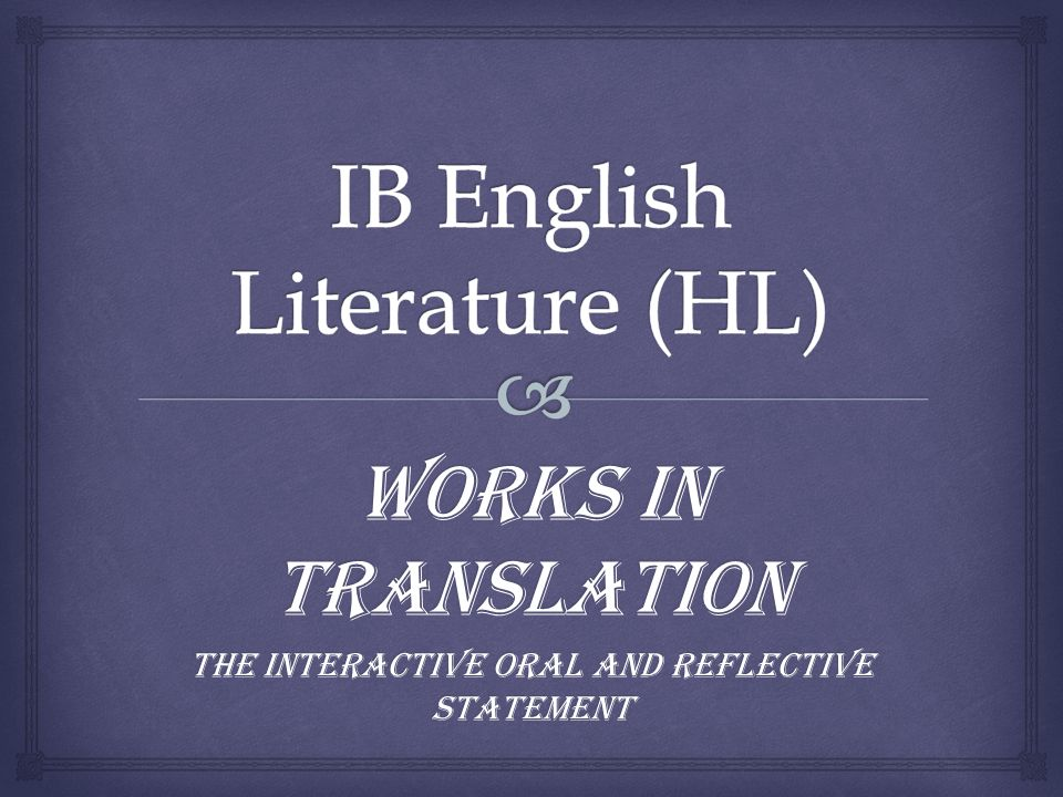 Language A: literature (SL/HL)
