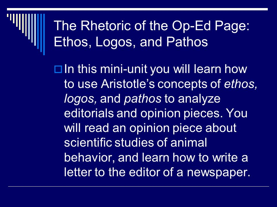 the importance of the use of aristotles appeal of ethos pathos and logos in james baldwins letter to Logos, and ethos pathos makes an appeal to use of logos, ethos and pathos by dr martin luther king jr pathos in mlk jr's letter from birmingham.