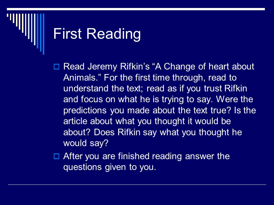 a critique of a change of heart about animals an article by jeremy rifkin Animal rights in the article, a change of heart about animals by jeremy rifkin pages 1 words 515 view full essay more essays like this:.