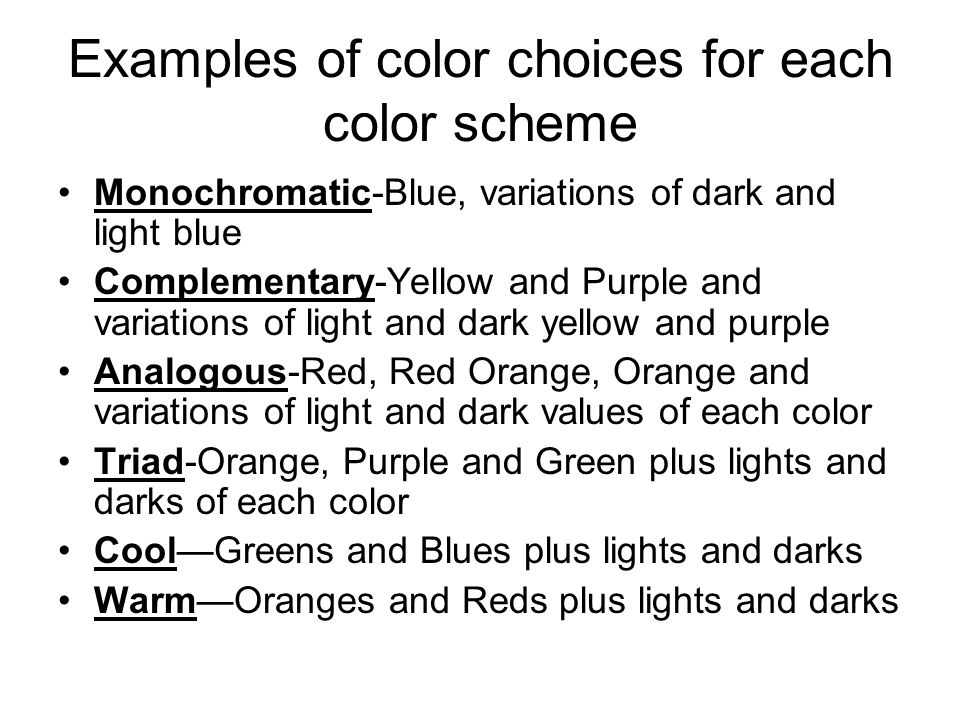 Examples Of Color Schemes 3 properties of color hue-the name of the color - ppt download