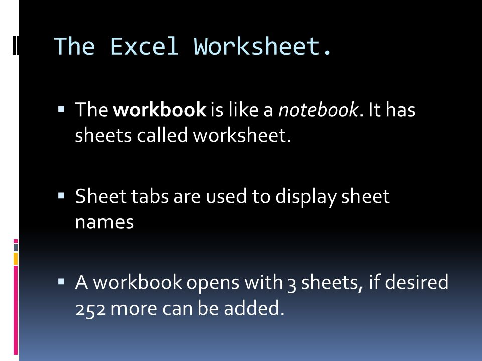 Year 5 Science Worksheets Excel Introduction To Microsoft Excel  Ppt Video Online Download Area Worksheets For 3rd Grade Pdf with Retirement Budget Worksheet The Excel Worksheet The Workbook Is Like A Notebook It Has Sheets Called  Worksheet Minerals Worksheet