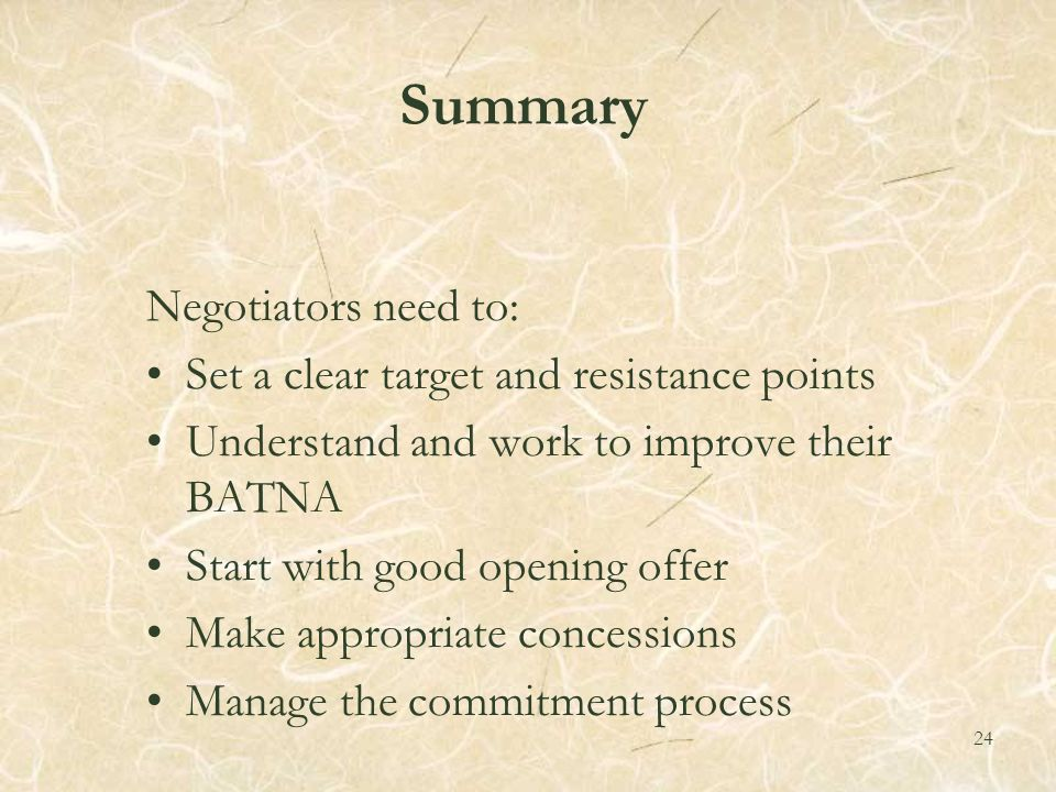 negotiation and resistance point Here are some powerful negotiation tactics & techniques  the high anchor  point primes your counterpart to focus on the best qualities about your offer in a  real estate  toward the end of the negotiation, you'll likely encounter resistance.