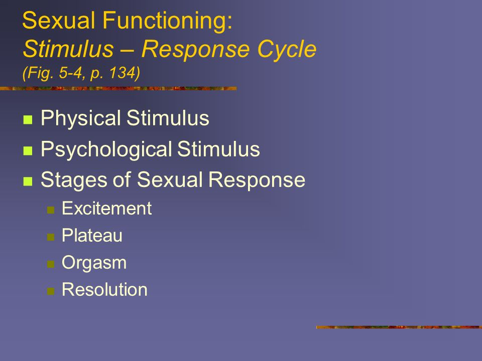 Sexual Functioning: Stimulus – Response Cycle (Fig. 5-4, p. 134)