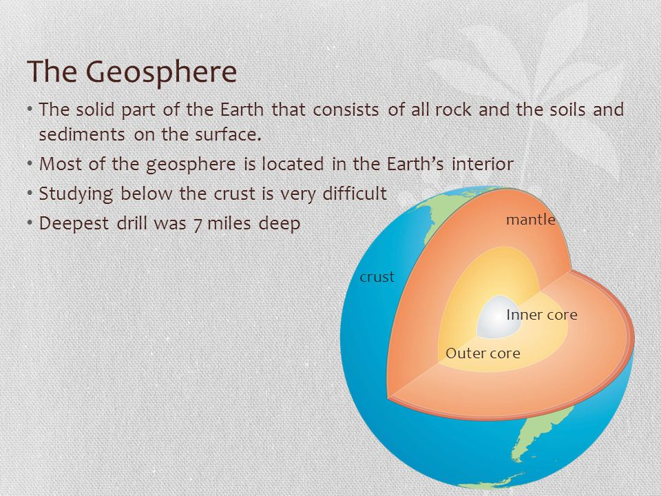 The Geosphere The solid part of the Earth that consists of all rock and the soils and sediments on the surface.