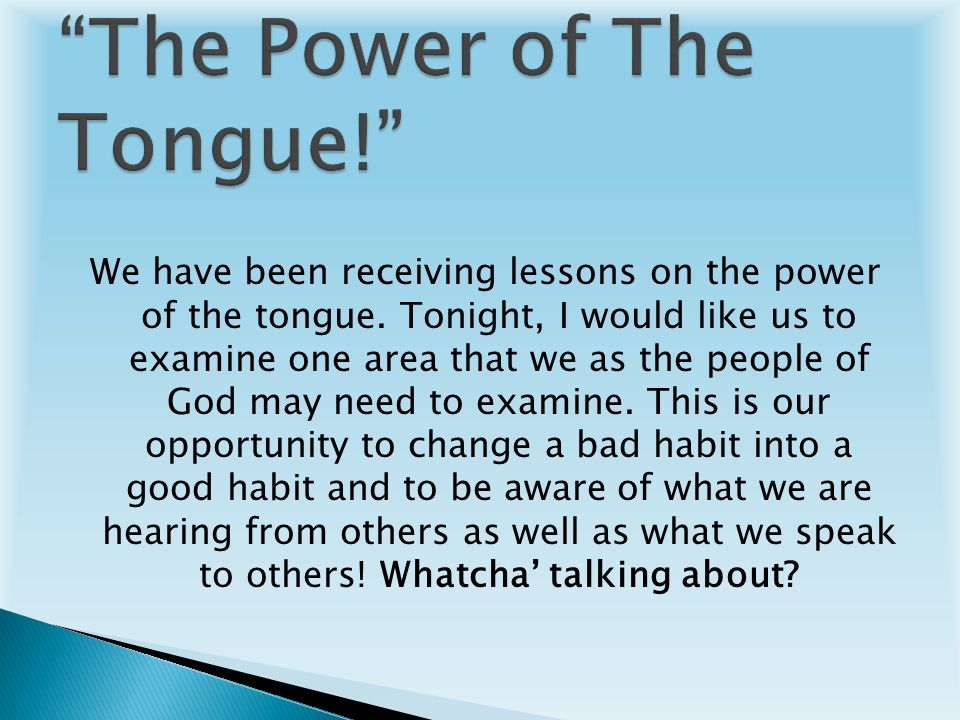 Power of the Tongue - Christ-Centered Mall Teaching - July ...