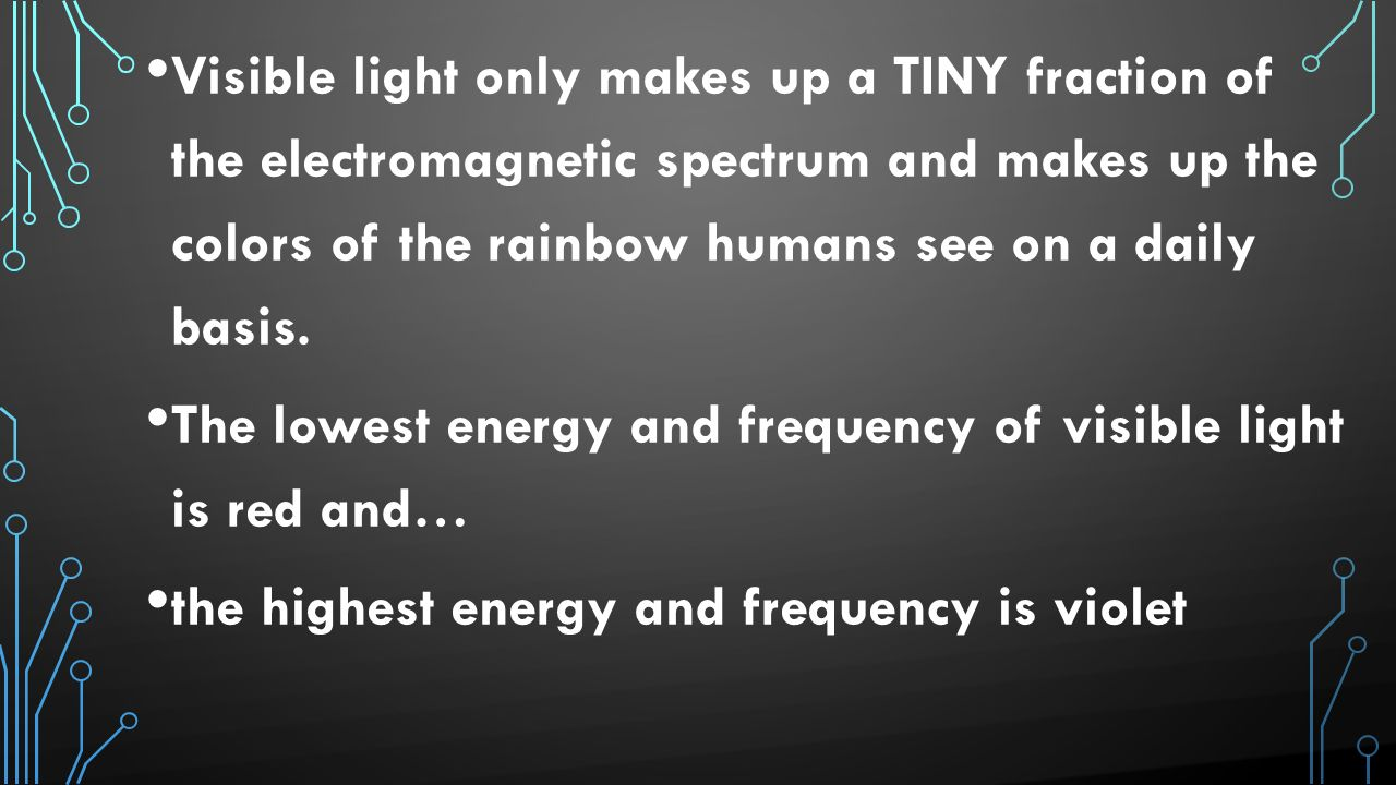 Visible light only makes up a TINY fraction of the electromagnetic spectrum and makes up the colors of the rainbow humans see on a daily basis.