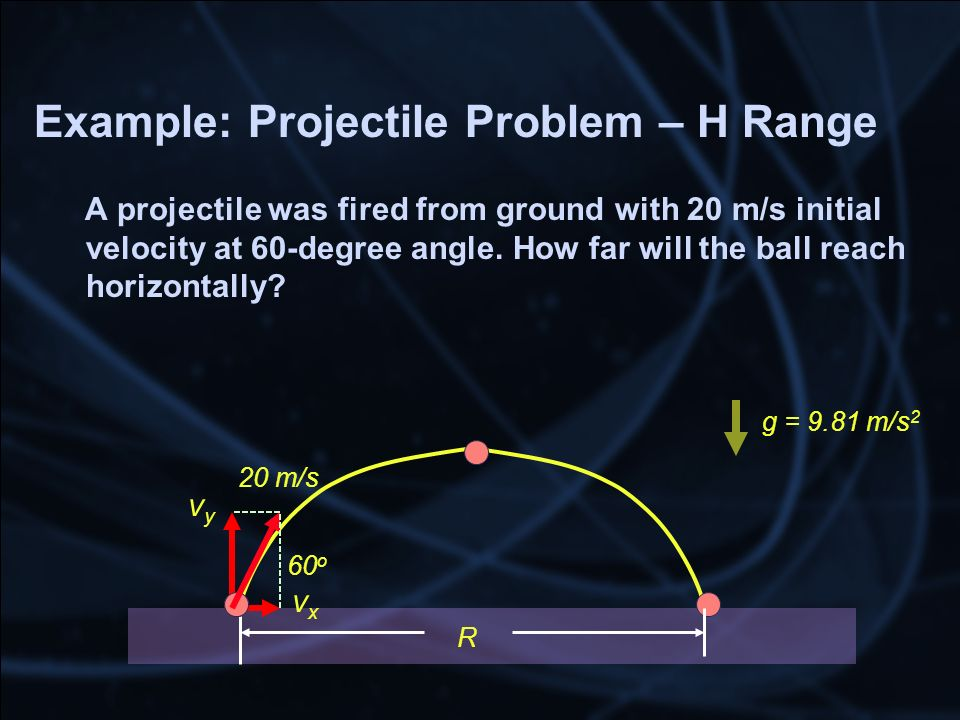 Example: Projectile Problem – H Range