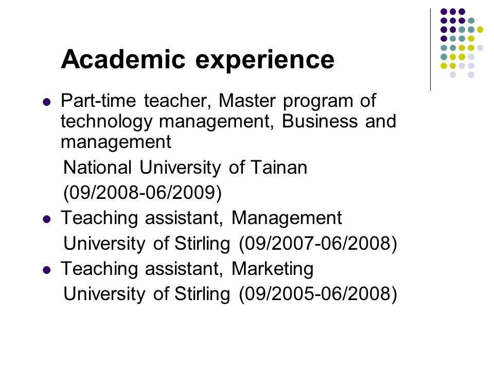2 academic experience - Academic Experience Resume